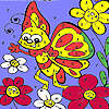Funny butterfly in garden coloring game