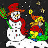 Girl winter night coloring game