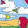 игра Девочка и птицы в поле окраску