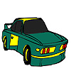 Green fast car coloring game