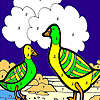 Green ducks in the river coloring game