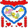 Сърца и гъсеници оцветяване игра
