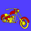 Hot road motorbike coloring game
