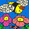 Hungry bee in the garden coloring game