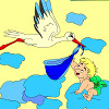 Niños para colorear cigüeña y bebé juego