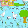 Little farm and ducks coloring game