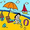Niña en el colorido de la playa juego
