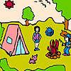 Familia en el campo para colorear juego