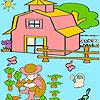 Petit garçon dans la coloration jardin jeu