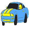 Colorear coche azul magnífico juego
