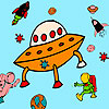 Meteorito y astronautas para colorear juego
