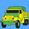 Military green trucks coloring game