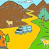 Berg und Kühe Färbung Spiel