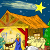 Escena de Natividad para colorear juego