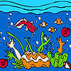 Ocean and colorful fishes coloring game