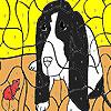 Vieux chien et souris à colorier jeu