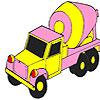 Rosa para colorear de camión de concreto juego