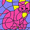 Rosa Hauskatze Färbung Spiel