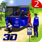 Jeu de taxi de rickshaw de police d'auto jeu