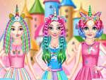 Принцеси дъга еднорог фризьорски салон игра