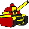 Red military tank coloring game