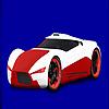 Piros koncepció versenyautó színezés játék