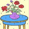 Rote Rosen Strauß Färbung Spiel
