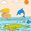 Schiff und Delfine Färbung Spiel