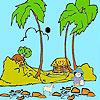 Pastor en el colorido de la playa juego