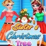 Schwestern Weihnachtsbaum Spiel