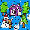 Bola de nieve en el jardín para colorear juego