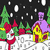 Snowman in the winter night coloring game