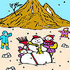 Snowman and children on the mountain coloring game