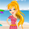 Стилен плаж момиче игра