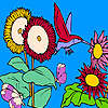 Sunflowers and hummingbird coloring game