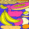 Tropical fruits on a plate coloring game