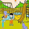 Dos amigos en el colorido Parque juego