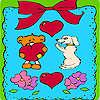 Sevgililer günü çerçevesi boyama hayvanlarda oyunu