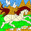 White doves and horse coloring game
